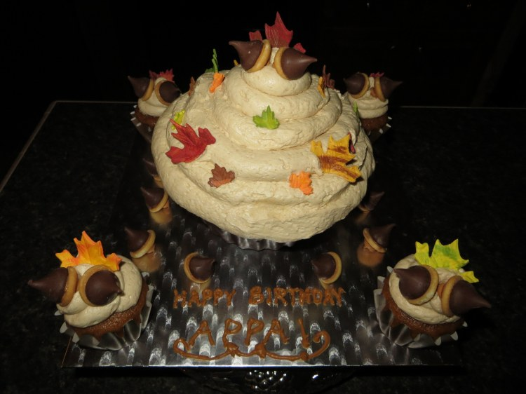 Fall-themed birthday cupcakes for Dr. Srini