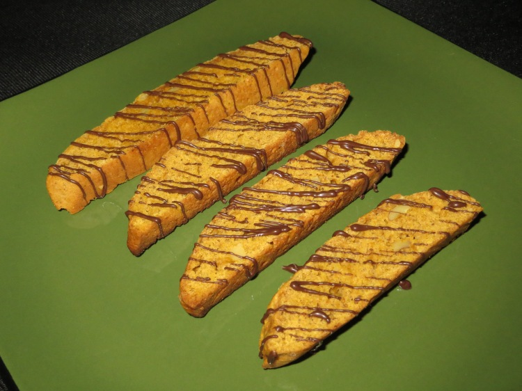 Pumpkin walnut biscotti drizzled in chocolate