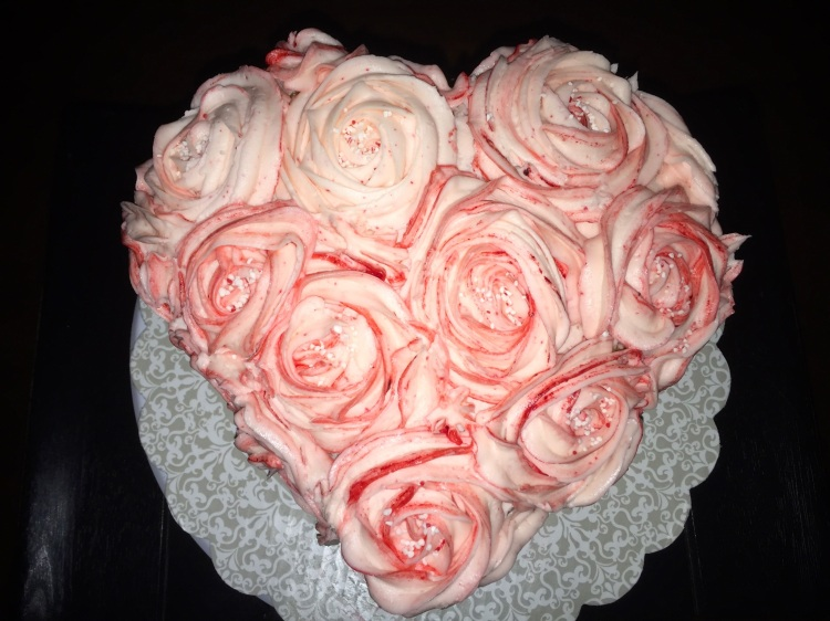 Heart-shaped chocolate peppermint cake