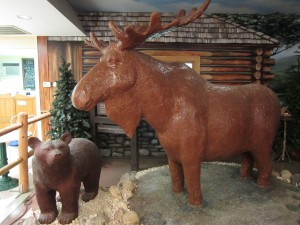 Lenny, the world's only lifesize chocolate moose.  You can find him inside the Len Libby store in Scarborough.