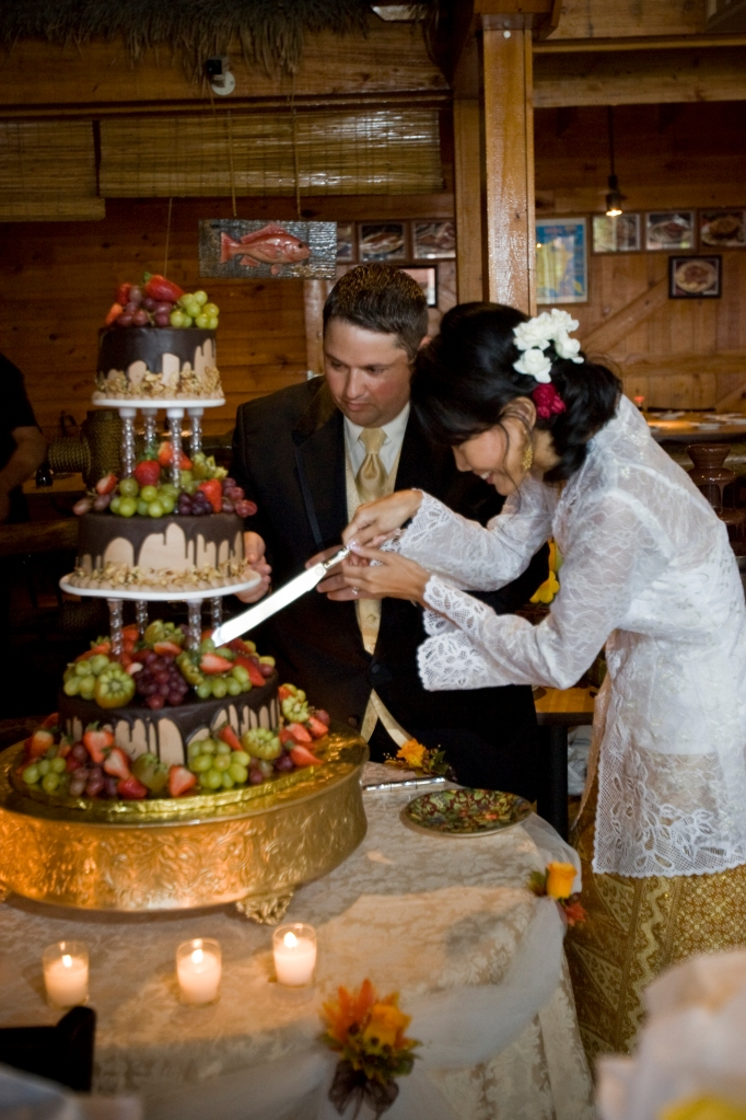Cutting the cake at our wedding reception, September 28, 2008