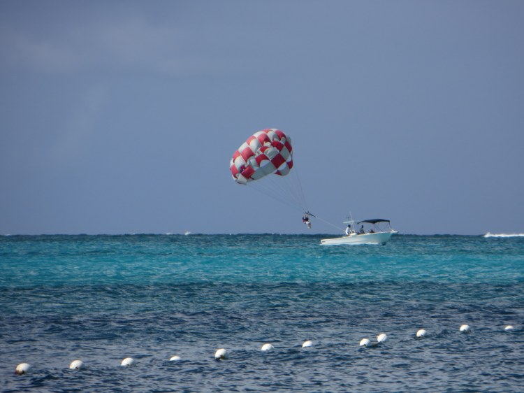 Parasailing above Grace Bay