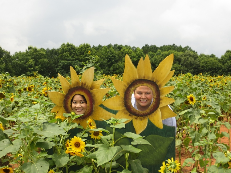 Johnny and Nanette as sunflowers