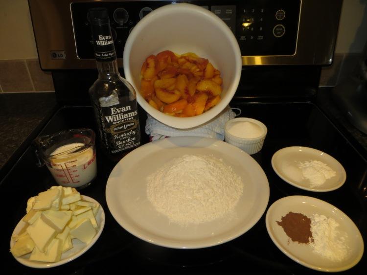Ingredients for bourbon peach cobbler