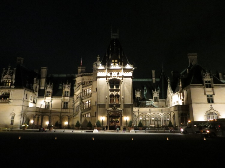 The Biltmore House lit up at night time