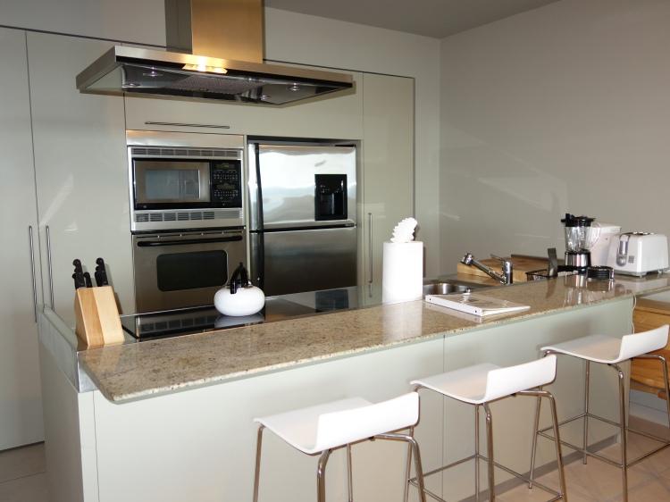 The unit's modern kitchen
