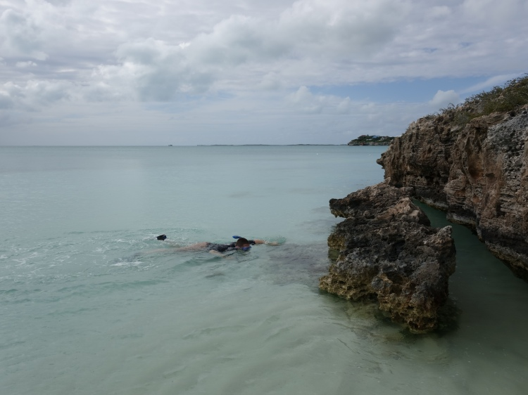 Johnny doing a bit of snorkeling at Sapodilla