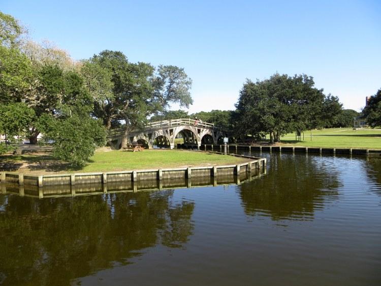 A footbridge over a canal