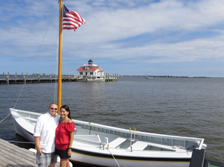 Johnny and Nanette with Roanoke Island Light in the background