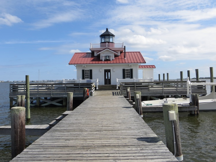 Roanoke Island Lighthouse at the end of a boardwalk