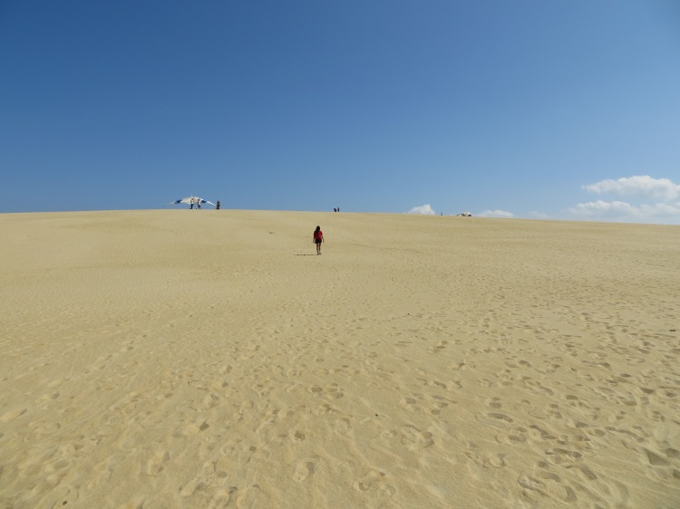 Getting a nice workout from climbing the dunes at Jockey's Ridge State Park