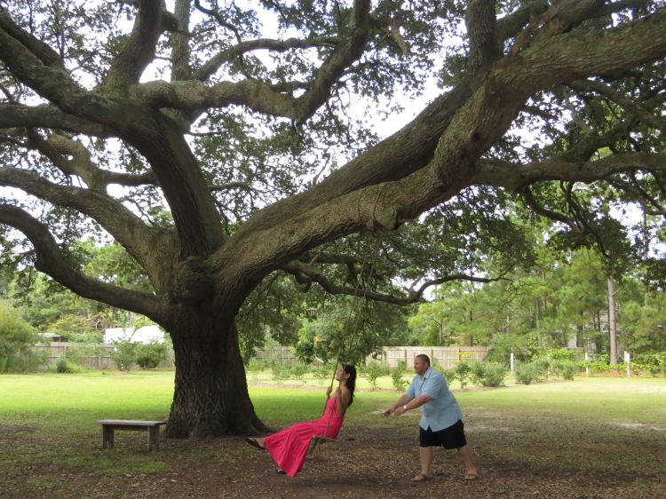 Swinging under a Live Oak Tree