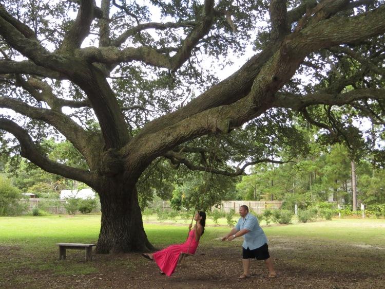 Swinging under a Live Oak Tree
