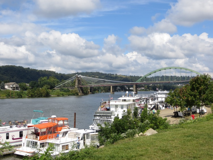 The Wheeling Suspension Bridge and the Fort Henry Bridge provide Wheeling Island with access to the rest of West Virginia.