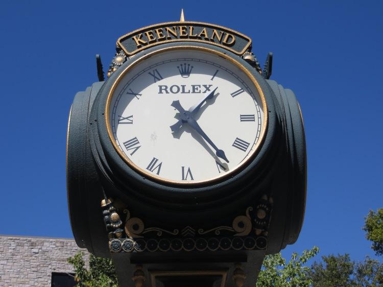 A Keeneland/Rolex lamppost clock